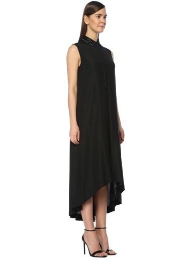 Yakası İşlemeli Kolsuz Midi Elbise-Beymen Collection